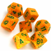 Yellow & Orange 'Lotus' Speckled Polyhedral 7 Dice Set